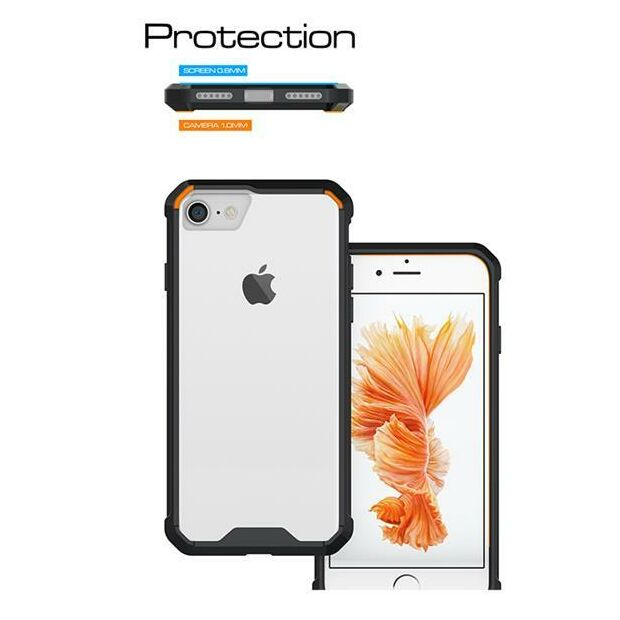 Hard Back Clear Case Hybrid | Hülle für iPhone 7 / 8 schwarz