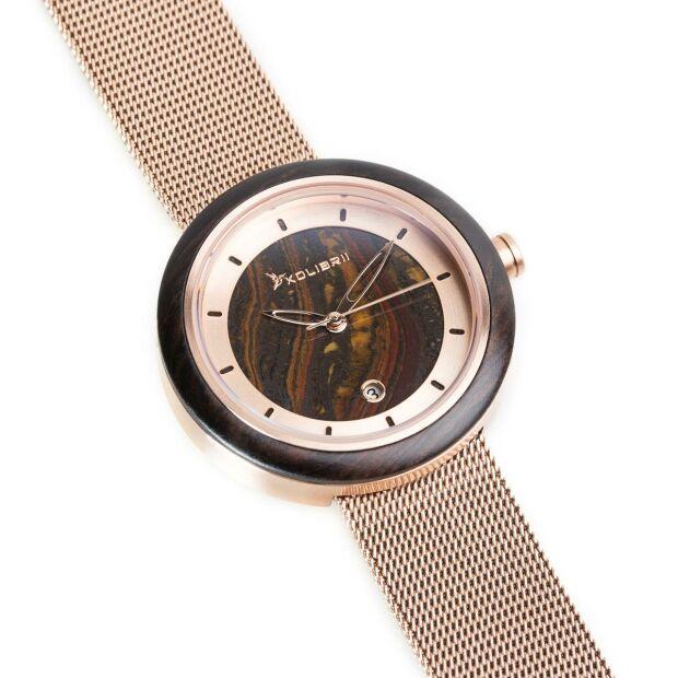 Damenuhr Armbanduhr Damen Uhr Rosegold Holzuhr Milanaise Mesh Armband Saphirglas