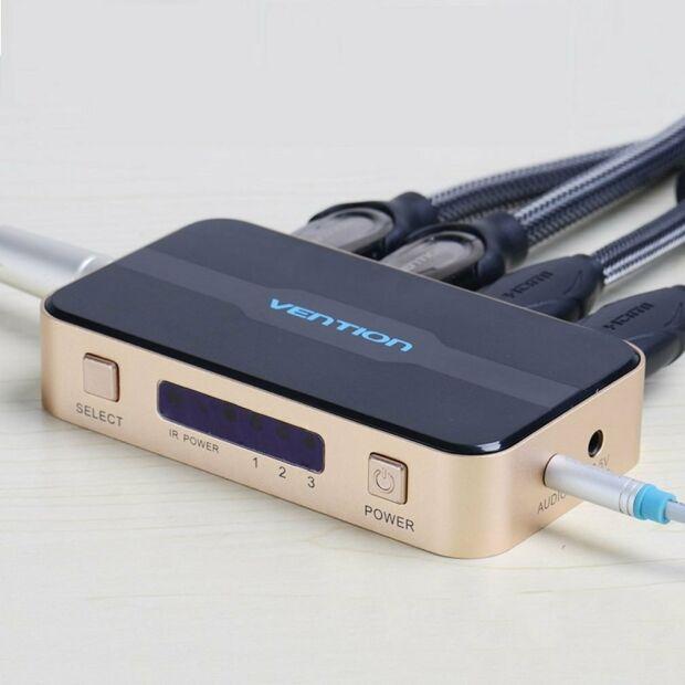 Vention 3 zu 1 HDMI Port Switcher Splitter mit Audio | HDMI 2.0 | 4K | Fernbedienung