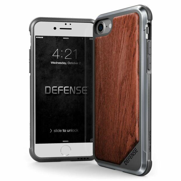 Premium Schutzhülle stoßfest Case Cover X-Doria Defense Lux Holz für iPhone 7 / 8