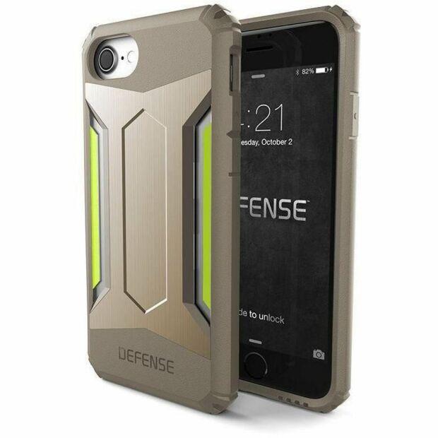 Premium Schutzhülle stoßfest Case X-Doria Defense Gear gold für iPhone 7 / 8