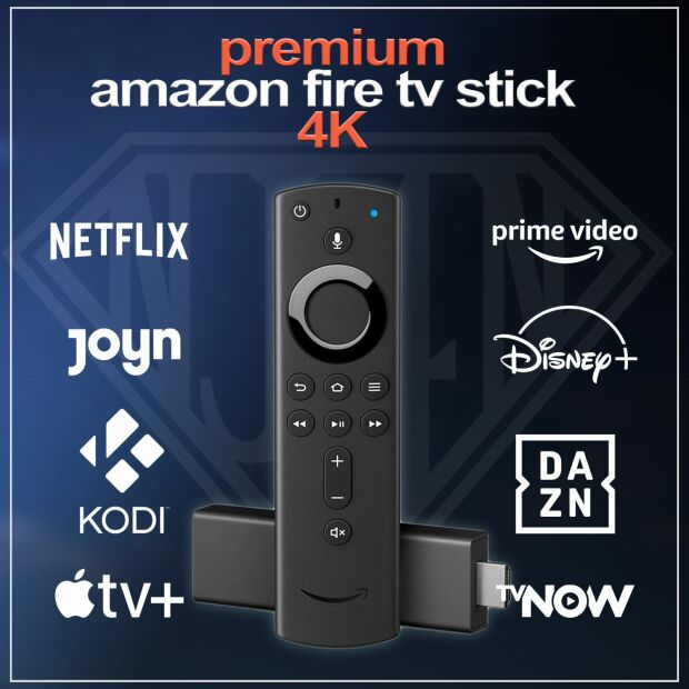 Amazon Fire TV Stick 4K UHD Alexa PREMIUM XXL | KODI VAVOO PULSE SKY Dienste ohne optionales Zubehör