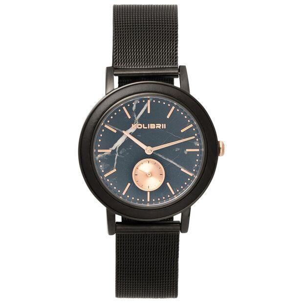 Armbanduhr 38mm Herren Damen Uhr Schwarz Edelstahl Holz Marmor Mesh Saphirglas