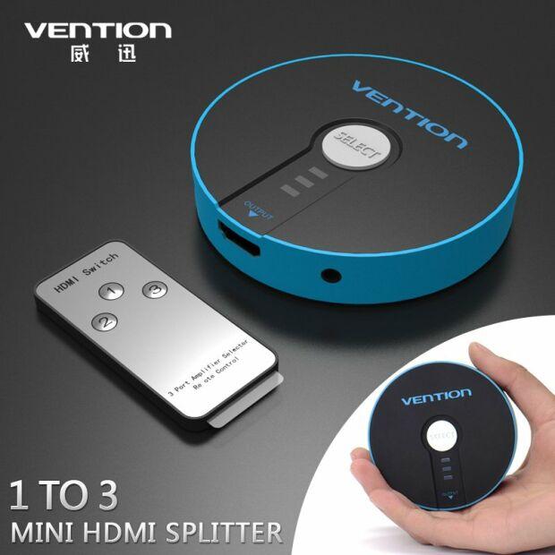 Vention 3 zu 1 HDMI Port Switcher Splitter mit Audio | 3D | 4K | Fernbedienung