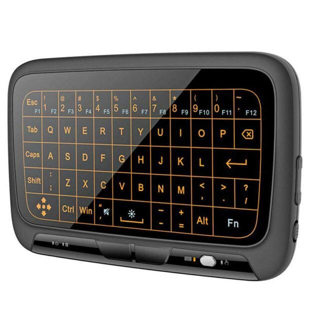 H18+ Mini Funk Touchpad Tastatur Kombo Maus QWERTY beleuchtet kabellos