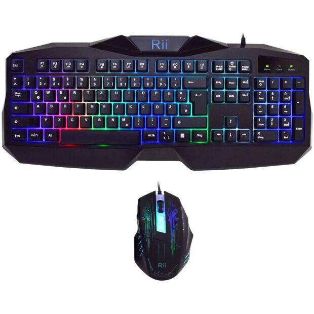 Riitek Rii RK400 Gaming QWERTY Tastatur Keyboard + Maus 2000 DPI Set beleuchtet