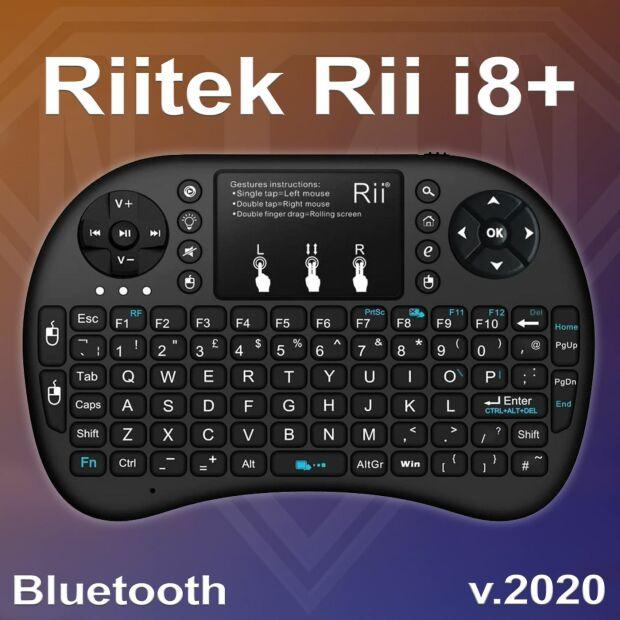 Riitek Rii i8+ Mini 2020 Bluetooth Tastatur QWERTY & Maus Kombo beleuchtet kabellos